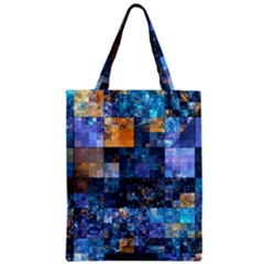 Blue Squares Abstract Background Of Blue And Purple Squares Zipper Classic Tote Bag by Nexatart