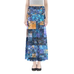 Blue Squares Abstract Background Of Blue And Purple Squares Maxi Skirts