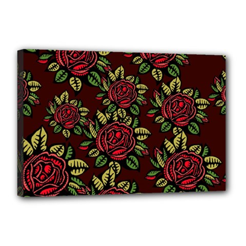 A Red Rose Tiling Pattern Canvas 18  X 12  by Nexatart