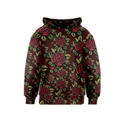 A Red Rose Tiling Pattern Kids  Pullover Hoodie