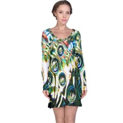 Dark Abstract Bubbles Long Sleeve Nightdress by Nexatart