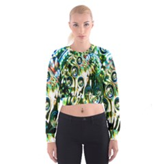 Dark Abstract Bubbles Cropped Sweatshirt by Nexatart