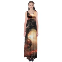 3d Illustration Of A Mysterious Place Empire Waist Maxi Dress
