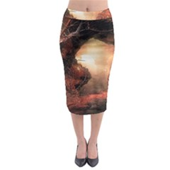 3d Illustration Of A Mysterious Place Midi Pencil Skirt