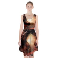 3d Illustration Of A Mysterious Place Racerback Midi Dress