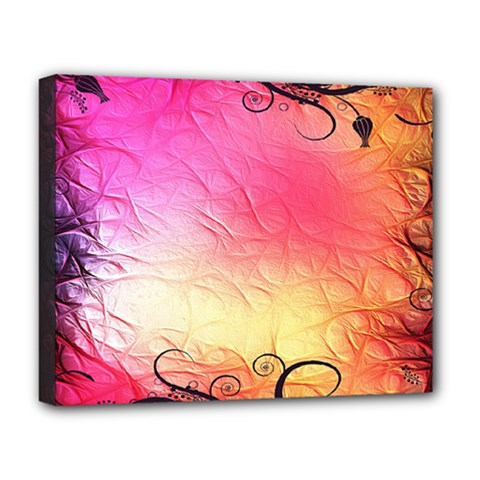 Floral Frame Surrealistic Deluxe Canvas 20  X 16   by Nexatart
