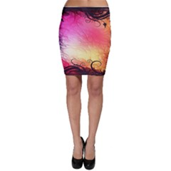 Floral Frame Surrealistic Bodycon Skirt