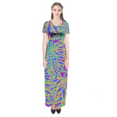Abstract Floral Background Short Sleeve Maxi Dress