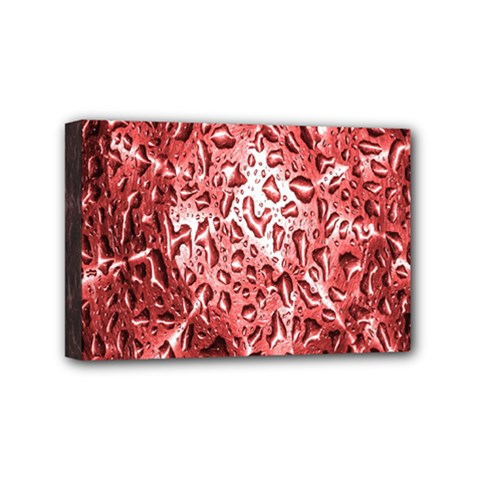 Water Drops Red Mini Canvas 6  X 4  by Nexatart