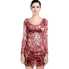 Water Drops Red Long Sleeve Bodycon Dress by Nexatart