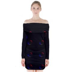 Tranquil Abstract Pattern Long Sleeve Off Shoulder Dress by Nexatart