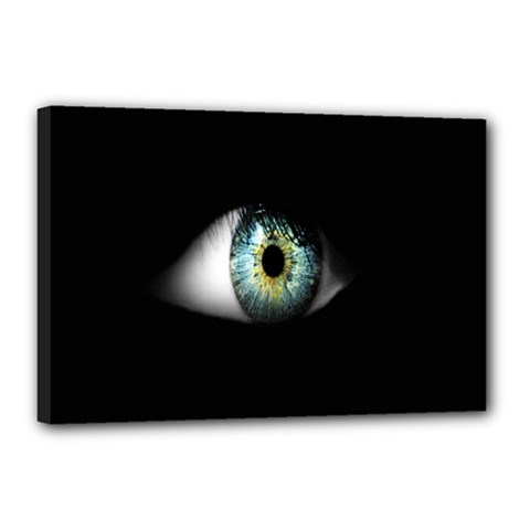 Eye On The Black Background Canvas 18  X 12