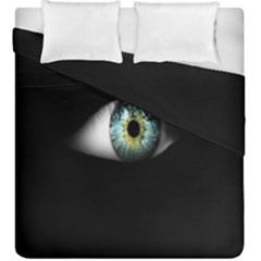 Eye On The Black Background Duvet Cover Double Side (king Size)