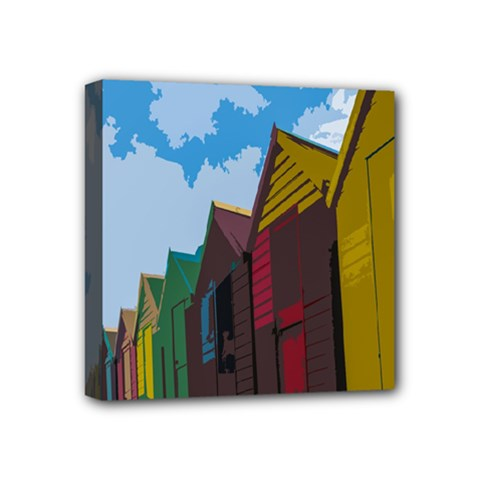 Brightly Colored Dressing Huts Mini Canvas 4  X 4  by Nexatart