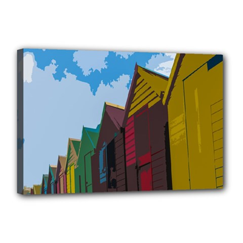 Brightly Colored Dressing Huts Canvas 18  X 12