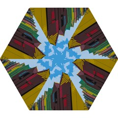Brightly Colored Dressing Huts Mini Folding Umbrellas by Nexatart