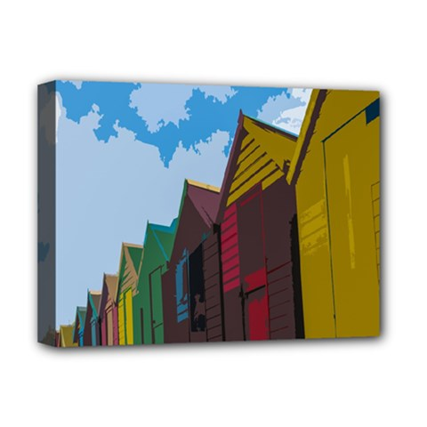 Brightly Colored Dressing Huts Deluxe Canvas 16  X 12   by Nexatart