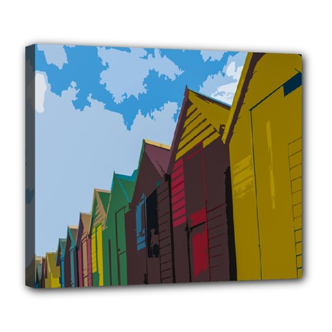 Brightly Colored Dressing Huts Deluxe Canvas 24  X 20   by Nexatart