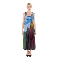 Brightly Colored Dressing Huts Sleeveless Maxi Dress by Nexatart