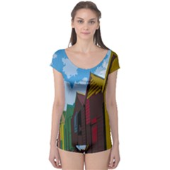 Brightly Colored Dressing Huts Boyleg Leotard  by Nexatart