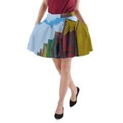 Brightly Colored Dressing Huts A Line Pocket Skirt by Nexatart