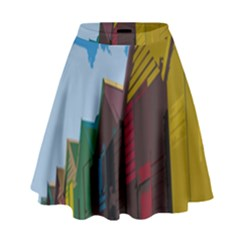 Brightly Colored Dressing Huts High Waist Skirt by Nexatart