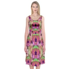 It Is Lotus In The Air Midi Sleeveless Dress by pepitasart