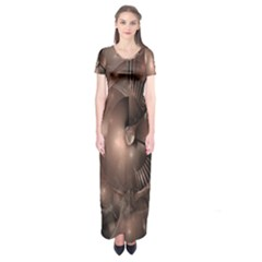 A Fractal Image In Shades Of Brown Short Sleeve Maxi Dress