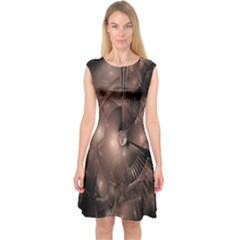 A Fractal Image In Shades Of Brown Capsleeve Midi Dress by Nexatart