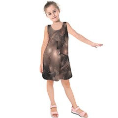 A Fractal Image In Shades Of Brown Kids  Sleeveless Dress by Nexatart