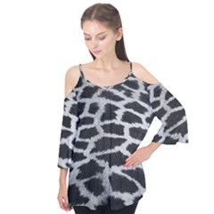 Black And White Giraffe Skin Pattern Flutter Tees by Nexatart