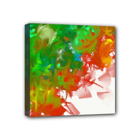 Digitally Painted Messy Paint Background Textur Mini Canvas 4  X 4  by Nexatart