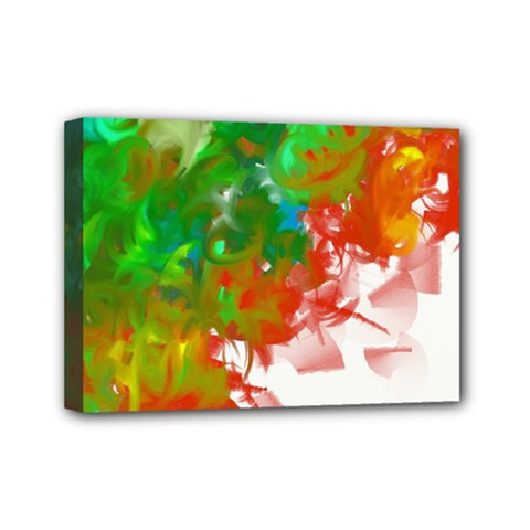 Digitally Painted Messy Paint Background Textur Mini Canvas 7  X 5  by Nexatart