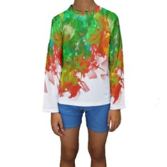 Digitally Painted Messy Paint Background Textur Kids  Long Sleeve Swimwear by Nexatart