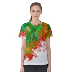 Digitally Painted Messy Paint Background Textur Women s Cotton Tee by Nexatart