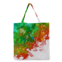 Digitally Painted Messy Paint Background Textur Grocery Tote Bag by Nexatart