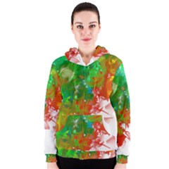 Digitally Painted Messy Paint Background Textur Women s Zipper Hoodie