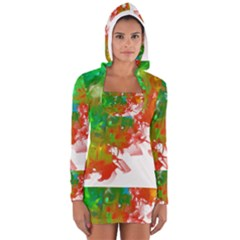 Digitally Painted Messy Paint Background Textur Women s Long Sleeve Hooded T-shirt by Nexatart