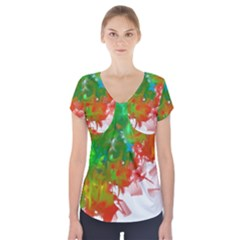 Digitally Painted Messy Paint Background Textur Short Sleeve Front Detail Top