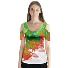Digitally Painted Messy Paint Background Textur Butterfly Sleeve Cutout Tee  by Nexatart