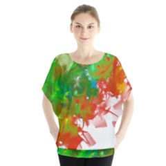 Digitally Painted Messy Paint Background Textur Blouse by Nexatart