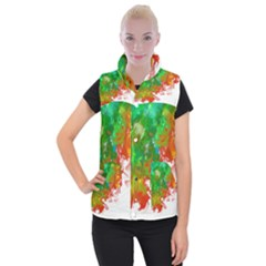 Digitally Painted Messy Paint Background Textur Women s Button Up Puffer Vest by Nexatart