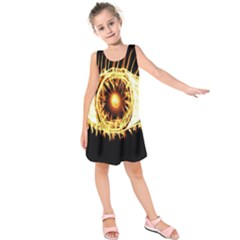 Flame Eye Burning Hot Eye Illustration Kids  Sleeveless Dress by Nexatart