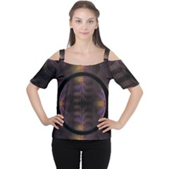 Wallpaper With Fractal Black Ring Women s Cutout Shoulder Tee