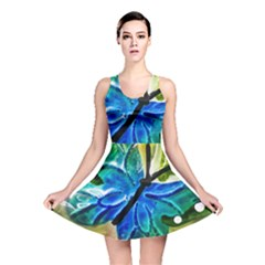 Blue Spotted Butterfly Art In Glass With White Spots Reversible Skater Dress by Nexatart