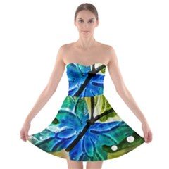 Blue Spotted Butterfly Art In Glass With White Spots Strapless Bra Top Dress
