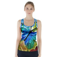 Blue Spotted Butterfly Art In Glass With White Spots Racer Back Sports Top by Nexatart