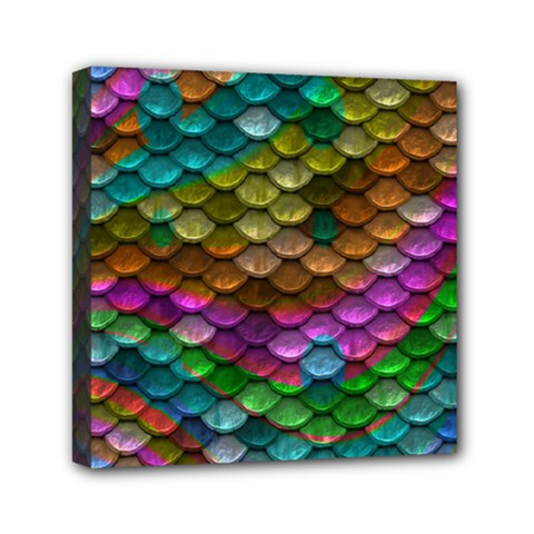 Fish Scales Pattern Background In Rainbow Colors Wallpaper Mini Canvas 6  X 6  by Nexatart