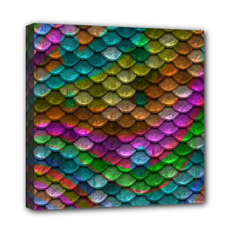 Fish Scales Pattern Background In Rainbow Colors Wallpaper Mini Canvas 8  X 8  by Nexatart