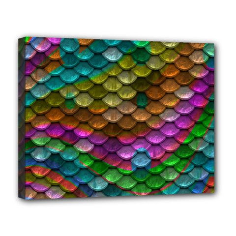 Fish Scales Pattern Background In Rainbow Colors Wallpaper Canvas 14  X 11  by Nexatart